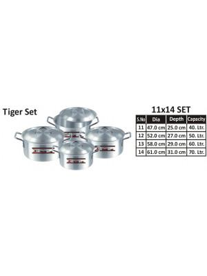 Aluminium Pots set  11 TO 14 Tiger COOKING POT 1×4