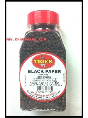 BLACK PEPPER WHOLE, PEPPER CORNS, 7 OZ JAR, TIGER BRAND